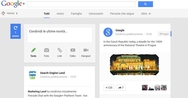 Il nuovo layout di Google+